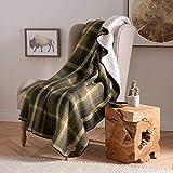 Pendleton Plaid Cotton Sherpa Throw– Soft Plush Blanket - Oxford Plaid/Green