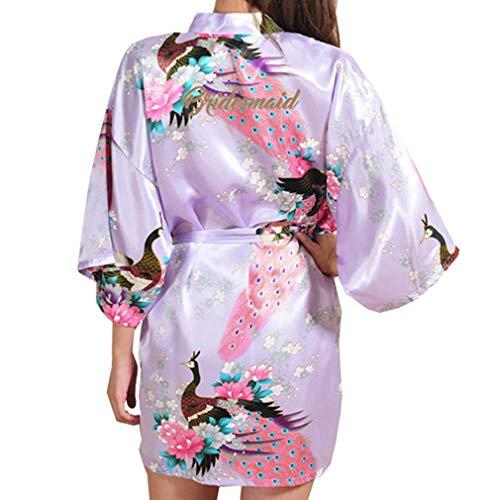 Yying Seda Bata de Sat/én Bata de Dama de Honor Floral Albornoz Corto Kimono Toga de Noche Bata de Ba/ño