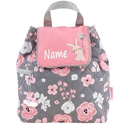 Rucksack Kindergartentasche mit Namen Bedruckt Motiv Hase/Blumen