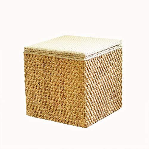 Yulan Kruk, voetenbankje, rietje, rotan rietje, opbergbank, kruk voor bed, sofa, kruk van massief hout, milieuvriendelijk