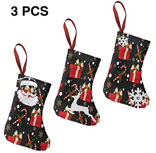 Benpareido Bota de calcetín de Navidad Personalizada de 3 Piezas Navidad Navidad Invierno DIY Impresión Ideal decoración de Navidad Feliz año Nuevo