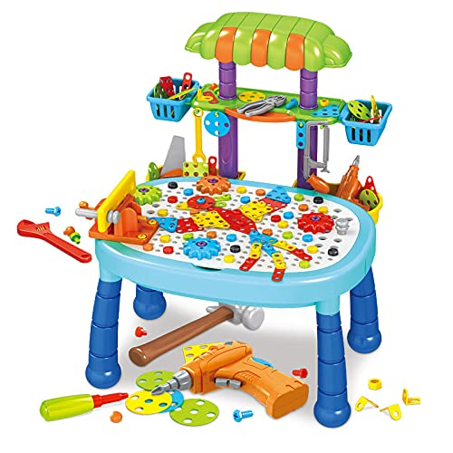 AMZYY Building Block Games Set Creative Puzzle Construction Electric Drill Screwdriver Play Tool Puzzle Assembly Diy Educational Toys,125CPS