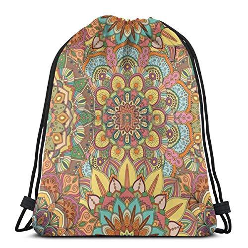 Lsjuee Shoulder Drawstring Bag Flower Pattern Intricate Backpack Sport Bag String Bags School Rucksack Gym Lightweight