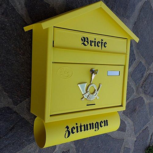 Naturholz-Schreinermeister Großer Briefkasten/Postkasten XXL Gelb Matt mit Zeitungsrolle Zeitungsfach Spitzdach Zeitungsrohr Bicolor