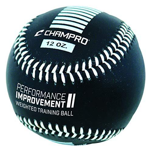 CHAMPRO Weighted Training Baseballs, Black, 12 oz. (CBB712)