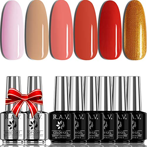 R.A.V Nude Pink Red Gel Nail Polish Set 6 Colors Hot Pink Red Gold Glitter Gel Polish Kit Soak Off LED Lamp Nail Polish Gel Base Top Coat Included Trendy Fall Winter Colors Manicure Kit Gift