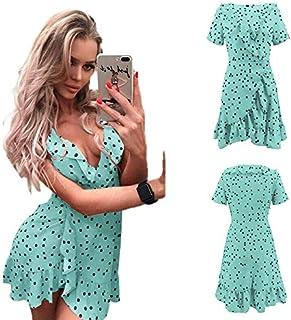 ormad katt boho kvinnor sommar prickig kort klänning v-ringad dam semester strand miniklänning