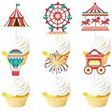 Dessert Cupcake Topper Clown Hot Air Balloon Red Gold Glitter Circus Tent Carnival Theme Decorations Baby Birthday Birthday Party Decor Supplies Set 18pcs
