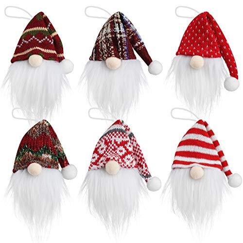 Mocoosy Christmas Gnomes Ornaments Set of 6,Handmande Plush Gnome Decorative Ornaments Christmas Tree Hanging Decorations Mini Swedish Tomte Santa Elf Doll Christmas Hanging Ornaments Xmas Home Decor