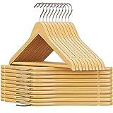 SONGMICS Hanger, 20 Pack Solid Wood Hangers Smooth Finish, Human Shoulder Design, Natural UCRW001-20