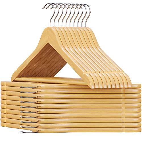 SONGMICS Cabides de madeira maciça, 20 unidades, acabamento suave, design de ombro humano, UCRW001-20 natural