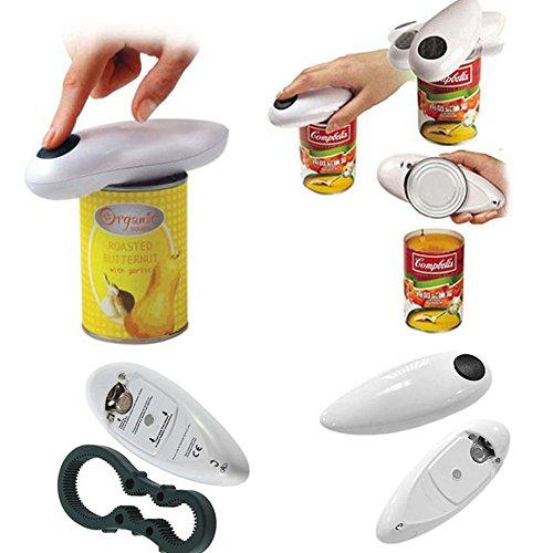 Abrelatas eléctrico ZAK168, abrelatas de latas eléctricas automáticas del restaurante casero, mejor herramienta abierta para el chef de cocina (un tamaño, negro+blanco)