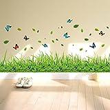 ufengke Grünes Gras Blumen Schmetterlinge Wandsticker, Wohnzimmer Schlafzimmer Baseboard Entfernbare Wandtattoos Wandbilder