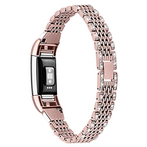 XIALEY Rhinestone Straps Compatible with Fitbit Charge 2, Women Metal Strap Jewelry Bracelet Stainless Steel Replacement Strap Wrist Strap Wristband for Charge 2,Rose Pink