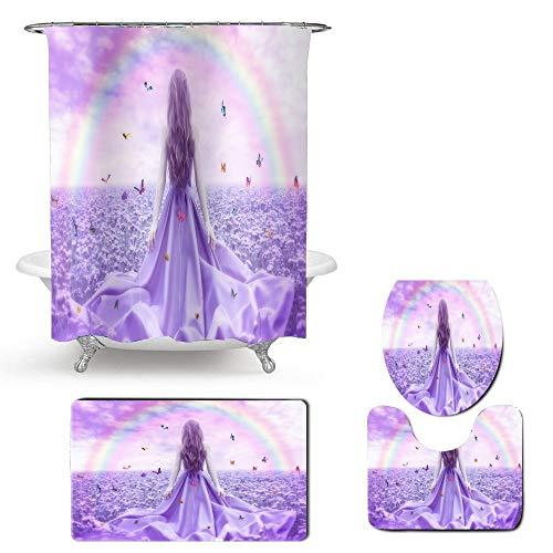 KUKUALE Beauty Flower Mariposa Juego de Cortinas de baño con Ganchos 4 Piezas Arco Iris de poliéster Cortina de Ducha Alfombra de baño Alfombra Juego de Fundas de Inodoro 180x80cm (7171in)