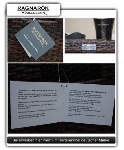 Ragnarök-Möbeldesign DEUTSCHE Marke - EIGNENE Produktion - 8 Jahre GARANTIE Garten Möbel Glas Polster PolyRattan Set Gartenmöbel Tisch Stuhl Hocker BRAUN - 6