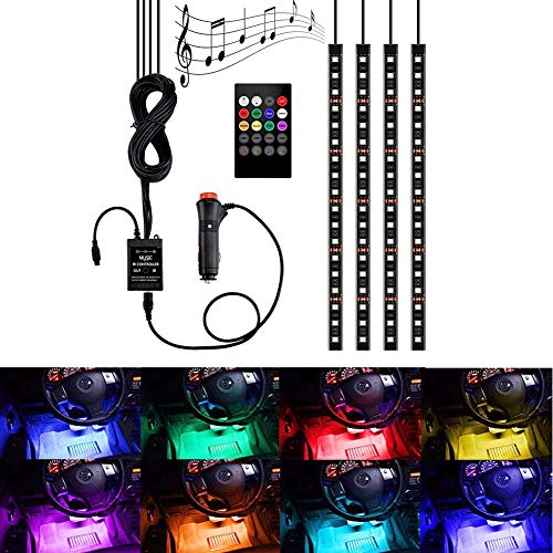 Auto LED Streifen Licht 4 stücke 72 LED Multicolor Musik Auto Innenbeleuchtung LED Unter Dash Beleuchtung Kits DC 12 V mit Sound Active Funktion und Drahtlose Fernbedienung