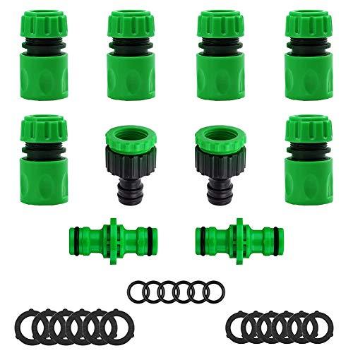MZSM 28 piezas Kit de Conector de Manguera, Manguera de Jardín de Plástico(6 Conector de Manguera Rapido,2 Manguera Doble Macho,2 Conector Rápido para Grifos,6 Anillo de Sellado,12 Arandelas) - Verde