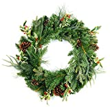 """CraftMore Blakeley Pine Wreath with Holly and Pine Cones 24"""""""