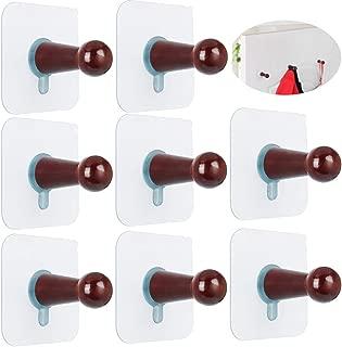 FOTYRIG Hat Hooks Wall Mounted Hat Hanger Rack Organizer Adhesive Hooks No Drills Wooden Storage Coat Hanging Hook for Baseball Caps, Coat Towel Hat Key Robe On Door Wardrobe Closet-8 Pack