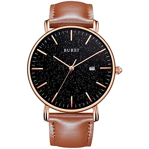 BUREI Reloj Minimalista Ultrafino para Hombre Pantalla con Fecha Elegante Caja de Oro Rosa Esfera Estrellada Negra con Correa de Cuero marrón
