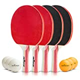 Abco Tech Ping Pong Paddle & Table Tennis Set - Pack of 4 Premium Rackets and 6 Table Tennis Balls - Soft Sponge Rubber - Ideal for Professional and Recreational Games - 2 or 4 Players