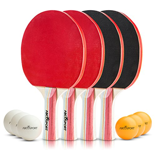 Table Tennis Ping Pong Set - Pack of 4 Premium Paddles/Rackets and...