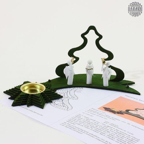 Damasu KL973 - Accessorio ornamentale da decorare con merletto, porta candele tealight, motivo albero di natale con angeli
