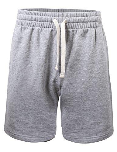 ProGo Men's Casual Basic Fleece Jogger Gym Workout Short Pants with Elastic Waist (Heather Gray, Large)