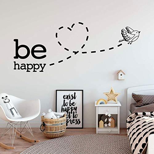 Be Happy Heart Bird Office - Wall Stickers Art Decor Decal Vinyl Plaster...