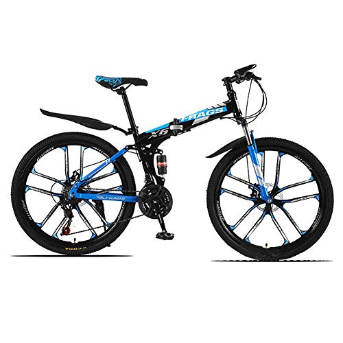ZWPY 26 Inch 21-Speed Mountain Bike, Folding Mountain Bicycle, Rear Shock Design, Double Disc Brakes, Off-Road Variable Speed Racing Men and Women, Multiple Color Options,Black red