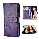 FLYEE iPhone 11 Wallet Case, [Embossed Butterfly Flower] Pu Leather Flip case Kickstand Closure Magnetic Protective Cover with Card Slots for Women and Girls Fit Apple iPhone 11 6.1 inch [Purple]