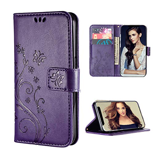 FLYEE Case Compatible with iPhone 12 Mini (5.4 inch,2020 Release),Wallet Case for Women and Girls with Card Holder,[Embossed Butterfly Flower] Pu Leather Flip Case Kickstand Protective Case - Purple
