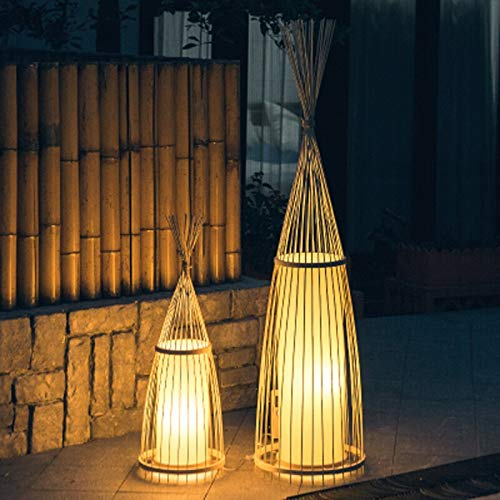 OUPPENG Lámpara de piso, Planta de bambú chino antiguo de la lámpara de la sala de bambú de la lámpara Salón de té japonesa club del sudeste asiático bambú decoración de la lámpara creativa diseñada d