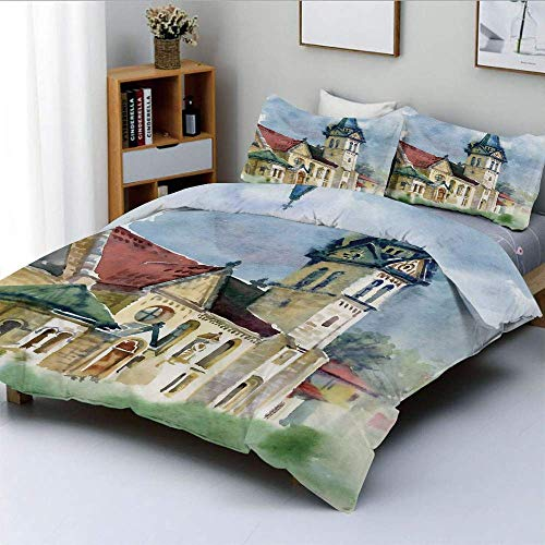 Juego de funda nórdica, paisaje medieval con el antiguo edificio de la aldea en el campo rural Obra de arte en acuarela Juego de cama decorativo de 3 piezas con 2 fundas de almohada, multicolor, el me