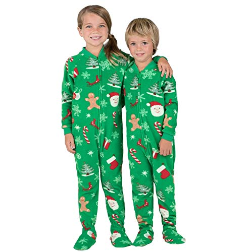Footed Pajamas - Family Matching Green Christmas Onesies for Boys, Girls, Men, Women and Pets - Kids - Medium (Fits 4'6 - 4'8