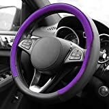 2015 Audi S6 Factory Wheels - FH Group FH2009PURPLE Geometric Chic Genuine Leather Steering Wheel Cover, 1 Pack, Purple