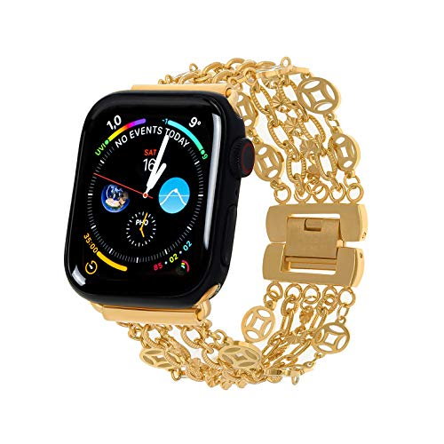 PLTGOOD Stainless Steel Band Compatible with Apple Watch Band 42mm/44mm for Women, 18K Gold Plated Mesh Loop Metal Chain Bangle Wristband Replacement Watch Strap for Iwatch Series 6/5/4/3/2/1/SE