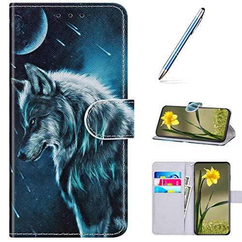 Kompatibel mit Samsung Galaxy A3 2016 Handyhülle Leder Handytasche,Flip Case mit Bunt Muster Schutzhülle Brieftasche Magnet Kartenfächer Lederhülle Kratzfest Tasche Bookstyle Klapphülle,Wolf Mond