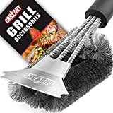 Grill Brush and Scraper - Extra Strong BBQ Cleaner Accessories - Safe Wire Bristles 18' Stainless Steel Barbecue Triple Scrubber Cleaning Brush for Gas/Charcoal Grilling Grates, Wizard Tool