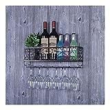 Estantes de vino Organizador Rack Botella de vino Estante de vino Rack Montado en la pared Titulares de talleres Holder Colgador Estante de vino al revés Racks de vidrio for barras Cocina for bares Re