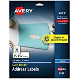 Avery Address Labels with Gold Border for Inkjet Printers, 1' x 2-5/8', 300 Labels (6529)