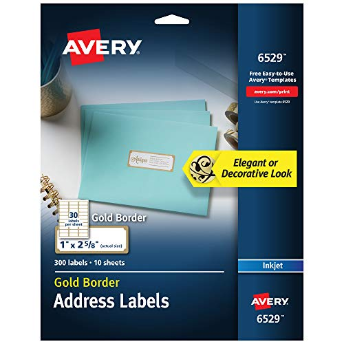 """Avery Address Labels with Gold Border for Inkjet Printers, 1"""" x 2-5/8"""", 300 Labels (6529)"""