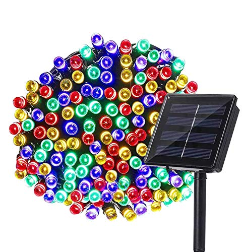 LSCHARM Solar Christmas Lights, 1 Pack 72ft 8 Modes Solar String Lights, 200 LED Waterproof Outdoor Fairy Lights for Garden, Patio, Party, Xmas Tree, Homes, Thanksgiving, Christmas Decor (Multicolor)
