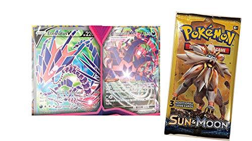 Pokemon Eternatus V Full Art and Eternatus VMAX Cards with Bonus Free Dollar Tree Booster Pack