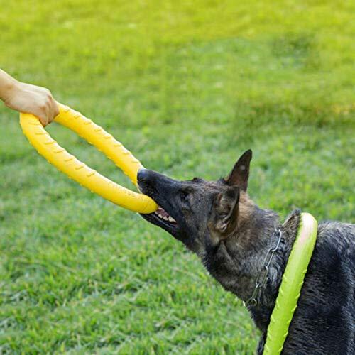 metagio Juguete para perros XL para masticar extremos, con anillo de goma fuerte, interactivo, gran entrenamiento para perros (amarillo)