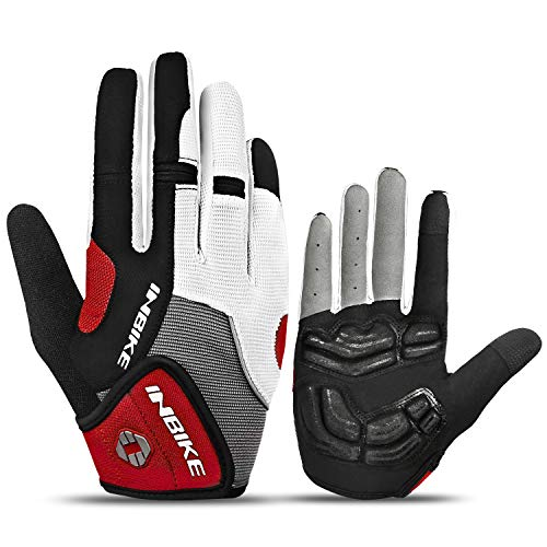 INBIKE Fahrradhandschuhe Herren Lang MTB Handschuhe mit gepolstert Gel Handschuhe Vollfinger Radhandschuhe Atmungsaktiv Elastische für Radfahren Outdoor-Aktivitäten Rot,XL