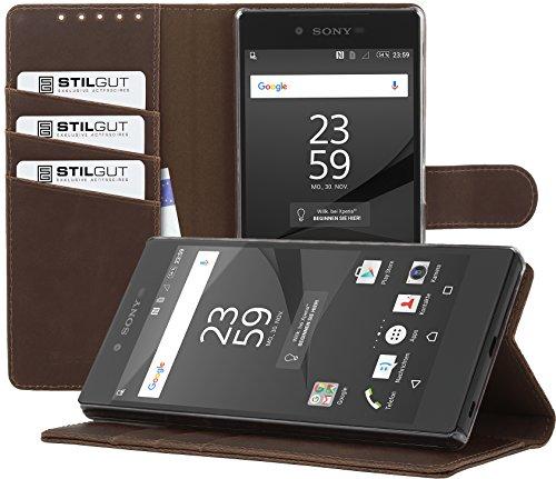 StilGut Talis con función de Soporte, Funda Cartera para el Sony Xperia Z5 Premium, Cognac Vintage