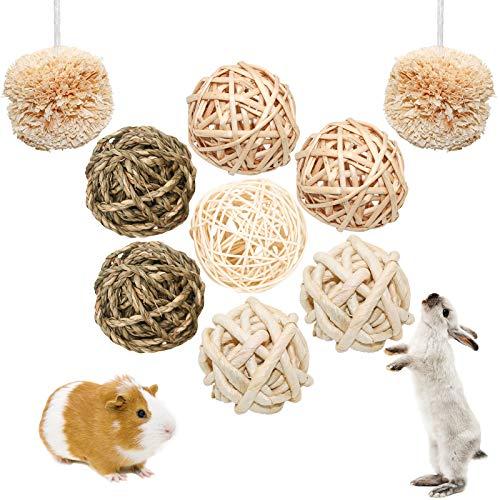 S-Mechanic 9 Stück Kleintiere Kaubälle Kauspielzeug, Hasen Natürlicher Spaß-spielzeugball, Kaninchen Kauspielzeug, Meerschweinchen Heu Ball für Kaninchen Chinchilla Hamster Hasen Meerschweinchen