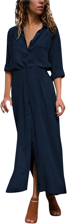 Tpingfe Womens Dresses Office Casual Midi Dress Long Sleeve Cardigan Dress Tunics Dress Summer Casual Sexy Dress Black